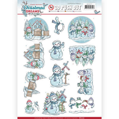 3D Pushout - Yvonne Creations - Christmas Dreams - Snowman SB10277