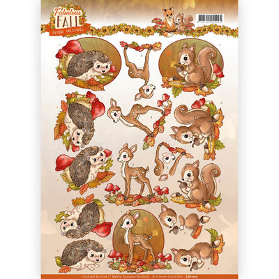3D Knipvel - Yvonne Creations - Fabulous Fall - Fabulous Animals CD11157