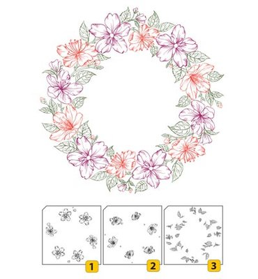 Layered stamp with position LCS002 - Wreath-2