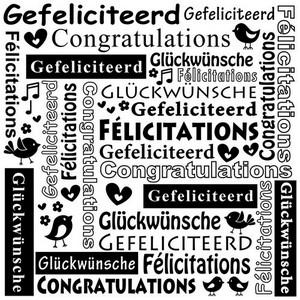 Nellie`s Choice - Emb.folder Multi Language tekst Gefeliciteerd MLTXT002