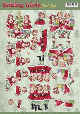 3D Knipvel - Yvonne Creations - Bubbly Girls Christmas - Christmas Dresses CD11194