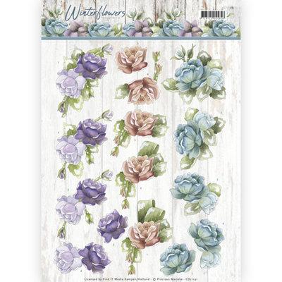 3D knipvel - Precious Marieke - Winter Flowers - Roses CD11191