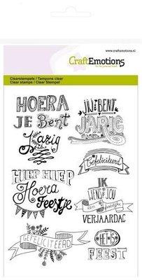 CraftEmotions clearstamps A6 - gefeliciteerd handlettering (NL)    130501/1262