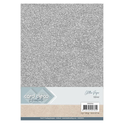 Card Deco Essentials Glitter Paper Silver CDEGP014