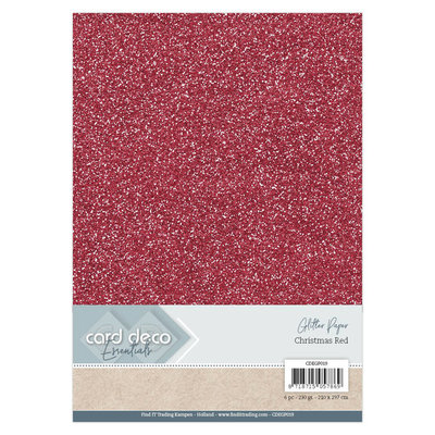 Card Deco Essentials Glitter Paper Christmas Red CDEGP019