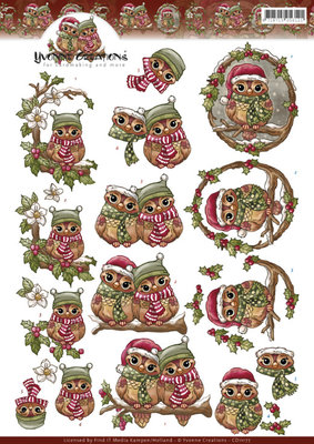 3D Knipvel - Yvonne Creations - Christmas Owls  CD11177