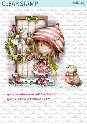 Polkadoodle-  stamp Winnie Christmas wreath