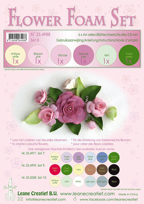 Flower Foam Set 8, 6 sheets A4 0.8mm. old rose colours incl. instructions. LCR25.4988