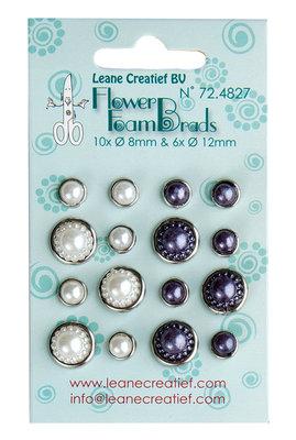 Flower Foam pearl brads white & grey 6x 12mm. & 10x 8mm. LCR72.4827
