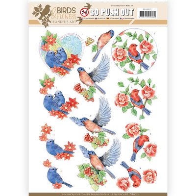 SB10317 3D Pushout - Jeanine's Art - Birds and Flowers - Blue birds