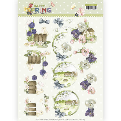 CD11263 3D Knipvel - Precious Marieke - Happy Spring - Happy on the Farm