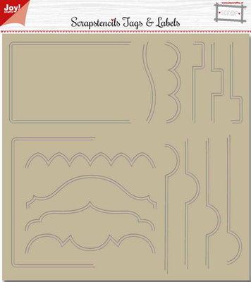 Joy! scrap polybesa scrapbook stencil  tab borders 6002/0883
