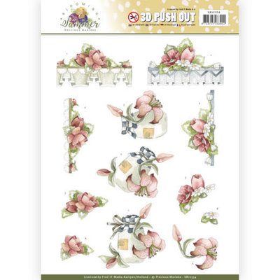 SB10354 3D Pushout - Precious Marieke - Blooming Summer - Red Summer Flowers