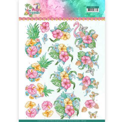 CD11331 3D Knipvel - Yvonne Creations - Tropical Flowers