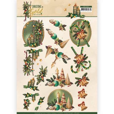 CD11357 3D Knipvel - Amy Design - Christmas in Gold - Lanterns in Gold