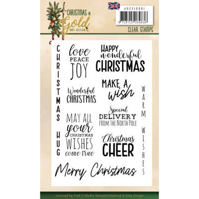ADCS10061 Clear Stamps - Amy Design - Christmas in Gold - Text EN