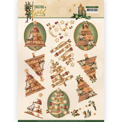 CD11360 3D Knipvel - Amy Design - Christmas in Gold - Trees in Gold