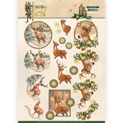 CD11359 3D Knipvel - Amy Design - Christmas in Gold - Deers in Gold