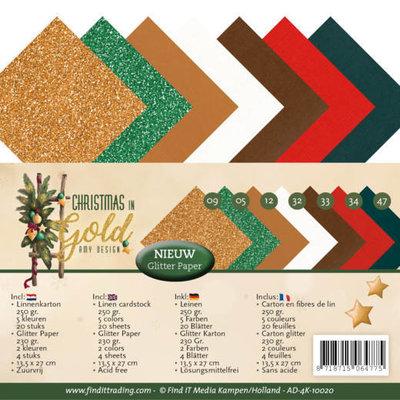 AD-4K-10020 Linnenpakket - 4K - Amy Design - Christmas in Gold