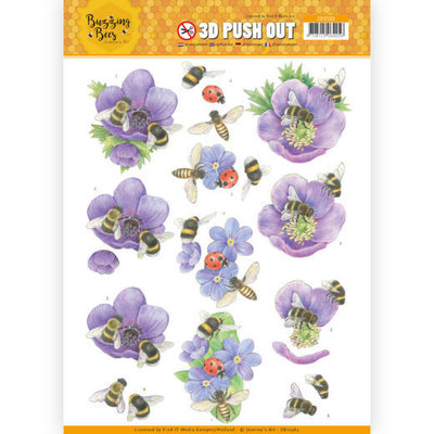 SB10365 3D Pushout - Jeanines Art - Buzzing Bees - Purple Flowers