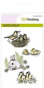 CraftEmotions clearstamps A6 - vogels, konijn