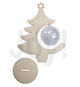 Joy crafts - Houten kerstboom met transparante bal 8 cm - 6320/0009
