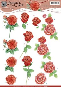 3D Knipvel - Jeanines Art - Rode rozen cd10752
