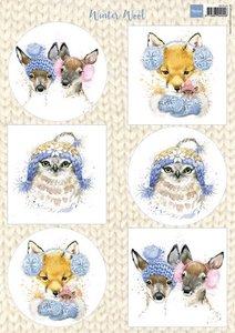 Marianne design, knipvel winter wool blue vk9548