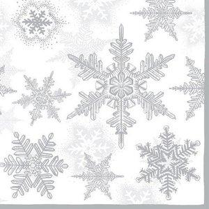 Servetten 5st - Sneeuwkristallen silver  33x33cm Ambiente