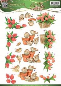 Jeanines Art - Garden Classics - 3D Knipvel - Tulips & Birds