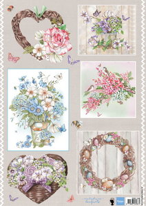 Marianne design, A4 knipvel Els country flowers 2 EWK1248