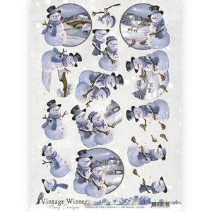 3D knipvel - Amy Design - Vintage winter - Snowman  cd10983