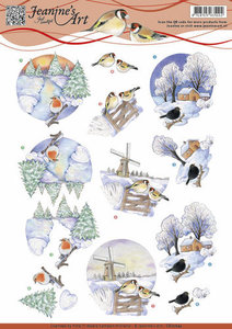 3D Knipvel - Jeanines Art - Witte kerstbloemen CD10760