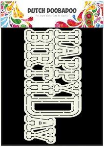 Dutch Doobadoo - Dutch Card Art - Happy Birthday A5