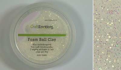 CraftEmotions Foamball clay - luchtdrogende klei - wit glitter 15gr